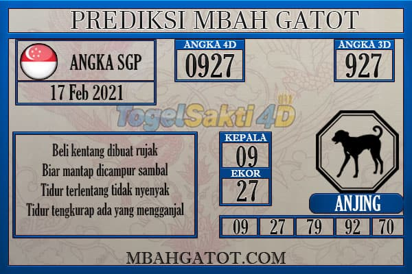 Prediksi SGP Rabu 17 Februari 2021