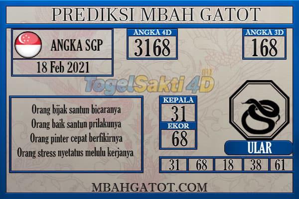 Prediksi SGP Kamis 18 Februari 2021