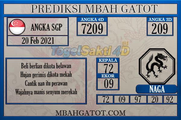 Prediksi SGP sabtu 20 Februari 2021