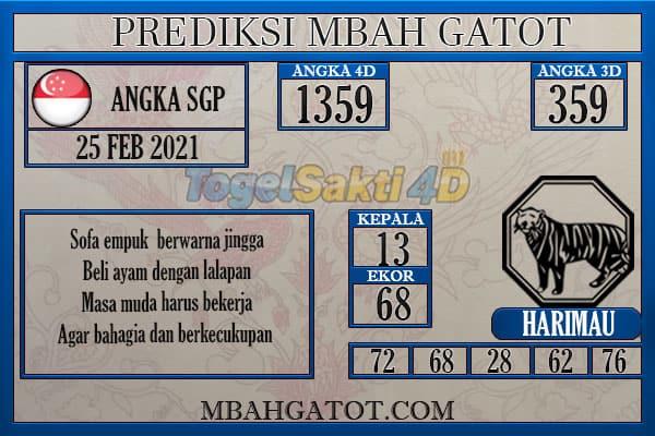 Prediksi SGP Kamis 25 Februari 2021