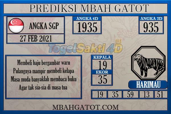 Prediksi SGP sabtu 27 Februari 2021
