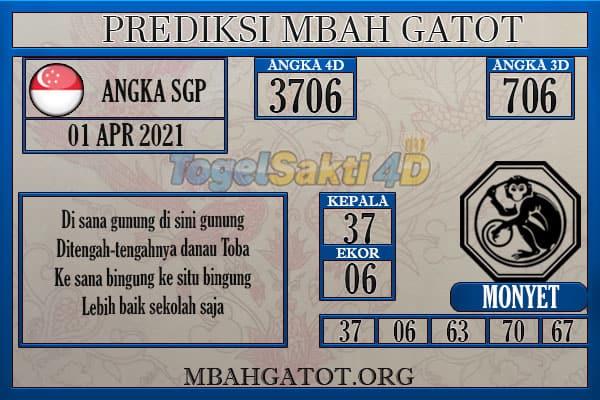 Prediksi SGP Kamis 01 April 2021